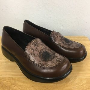 Dansko Mandolin Platform Loafer Brown Embossed